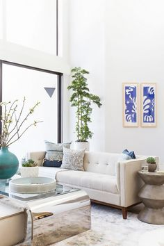 Living room with a neutral sofa, a large indoor plant, and a mirrored coffee table