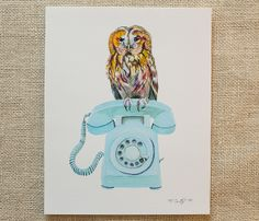 Owl decor, woodland art, rustic art by www.meandwee.com. Owl painting, vintage rotary phone, forest theme nursery art