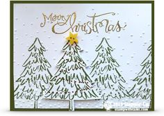 Stampin up perfect pines christmas card trees