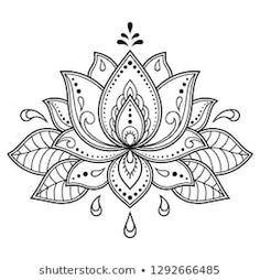 Mehndi Lotus flower pattern for Henna drawing and tattoo. Decoration in ethnic oriental, Indian style. Mehndi Lotus flower pattern for Henna drawing and tattoo. Decoration in ethnic oriental, Indian style. Henna Patterns, Flower Patterns, Flower Pattern Drawing, Pattern Flower, Indian Patterns, Mandala Pattern, Crochet Patterns, Mehndi Designs, Tattoo Designs