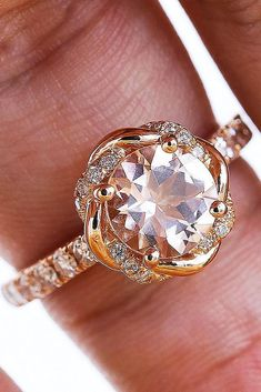 cheap engagement rings rose gold sparkling round cut morganite unique halo with pave band classic Engagement Ring For Him, Yellow Engagement Rings, Cheap Engagement Rings, Vintage Engagement Rings, Vintage Rings, Gold Ring Designs, Stylish Rings, Or Rose, Beautiful Rings