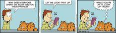 Today on Garfield en Español - Comics by Jim Davis Garfield Comics, Garfield Cartoon, A Comics, Cat Cartoons, Funny Comics, Hagar The Horrible, Funny Jokes, Hilarious, Funny Shit