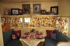 Red, white & blue vintage camper interior.