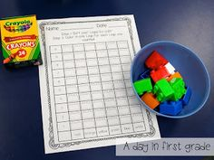 Morning work idea for the first day of school.  Student's sort the Legos, color in the graph and then get to play with them. I like it!