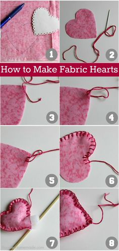 Learn how to make these colorful Fabric Hearts! Hang the fabric hearts on a string, decorate with them, or use them on a wreath - the options are endless! Pin to your DIY Board!
