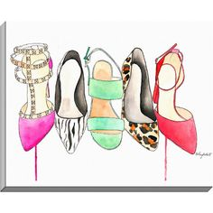 The Shoe Collection, Fashion Illustration Watercolor Painting Print -- Home/office decor and wall art, Fashion prints, shoes Fashion Wall Art, Fashion Painting, Fashion Prints, Painting Prints, Watercolor Paintings, Canvas Prints, Art Prints, Watercolors, Trending Art