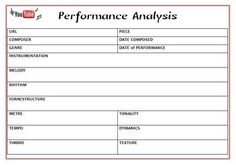 Performance Evaluation and Analysis Sheets YouTube is a fantastic resource for teachers - and especially #music teachers! This file contains TWO worksheets that can be used in conjunction with viewing a performance on YouTube: 1. Performance Evaluation Sheet 2 Analysis Sheet #musiceducation #musedchat