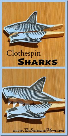 Clothespin Sharks: an easy summer activity for kids! www.TheSeasonedMom.com