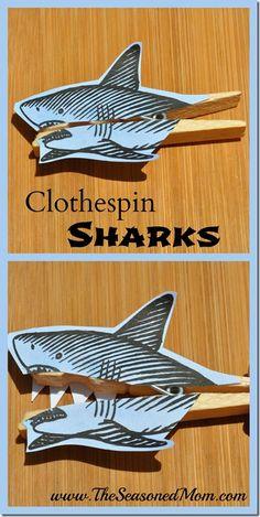 Clothespin Sharks: an easy summer activity for kids!  www.TheSeasonedMom.com
