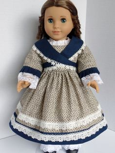 1854 Day Dress with Crossed Collar for AG Marie Grace by PeppersDollClothes on Etsy  $44.00