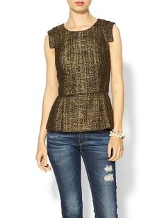 Metallic Tweed Peplum Top