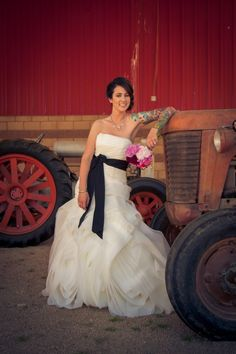 New Rustic Wedding and Country Trends like the dress & tractor lots. Not open minded enough about tatoo. p/I