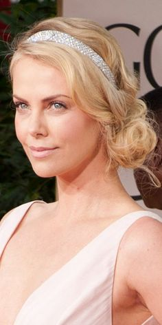 Charlize Theron's wavy hair at the 2012 Golden Globes.