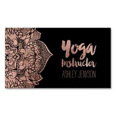 Rose gold boho floral mandala yoga typography Double-Sided standard business cards (Pack of 100)