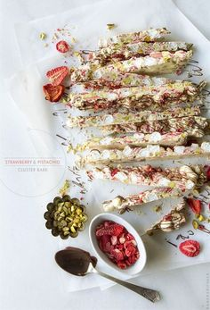 A no-bake four ingredient dessert: Strawberry & Pistachio Cluster Bark from Bakers Royale @Bakers Royale | Naomi