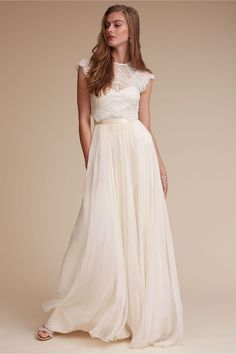 Two Piece Wedding Dress: Pair the Itala top and Delia Maxi skirt bridal separates designed by Catherine Dean for ethereal, chic results! Get this two piece wedding dress online here.