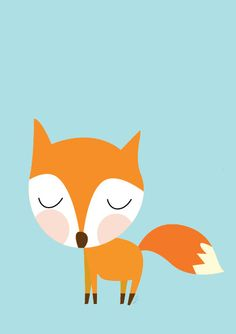Baby Fox Going For A Walk Poster  Modern Animal by Sealandfriends, $10.50