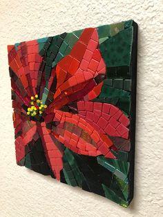 Poinsettia mosaic - ready to hang - Mosaic Garden Art, Mosaic Tile Art, Mosaic Vase, Mosaic Artwork, Mosaic Diy, Mosaic Crafts, Mosaic Projects, Mosaic Tables, Mosaic Mirrors