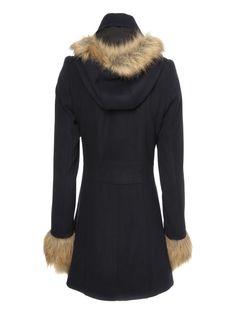 Faux Fur Trim Duffle Coat   Jane Norman