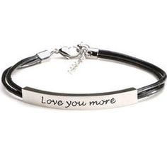 Love You More Bracelet in Stainless Steel and Leather