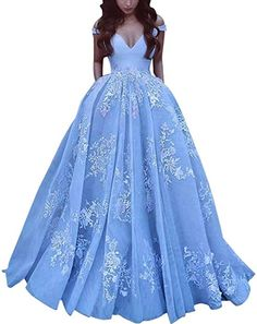 d70f247050f JQLD Womens Off Shoulder Evening Dresses Lace Tulle Satin Prom Quinceanera  Gown US8 Blue at Amazon