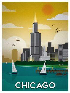 Chicago Vintage Poster Print designed by Alex Asfour. Chicago Poster, Poster City, Chicago Art, Chicago Illinois, Chicago Travel, Poster Vintage, Vintage Travel Posters, Voyage Usa, Illustrations Posters