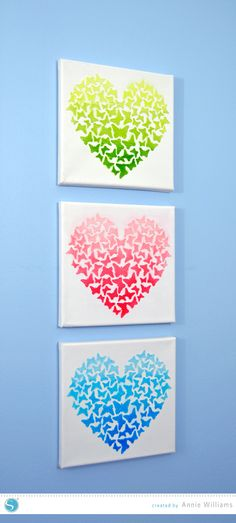 DIY Ombre Heart Art made using Silhouette stencil material, embossing paste, and my CAMEO #silhouettedesignteam