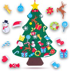 Felt Christmas Tree for Toddlers Perfect Stocking Stuffer - 37.5 x 27.5 Kids Wall Hanging Christmas Tree with 33 Ornaments - DIY Tree for Kids - felt / Green