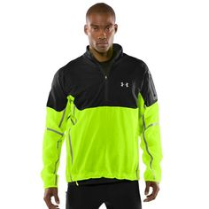 Men's UA Temperature Neutral Run ½ Zip Jacket Tops by Under Armour - Front and back logos light up with strobe and continuous settings. Light kit uses a built-in rechargeable, removable, lightweight battery pack. UA Storm gear uses a DWR finish to repel water without s... - Track & Active Jackets - Sporting Goods -