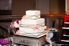 Square three-layer white cake with black details and pink flowers - Houston wedding photography - MD Turner Photography