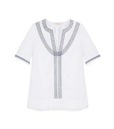 EMBROIDERED POPLIN RELAXED TUNIC