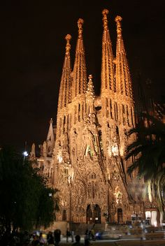 Sagrada Família at Night, Barcelona Spain