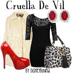 Cruella De Vil's outfit includes a fur coat.....HAHA