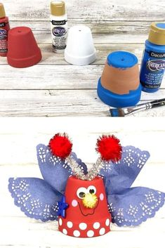 Quick 30 minute July 4th decoration idea for kids. Dollar tree July 4th party decoration idea for cheap. July 4th, 4th Of July Party, Dollar Tree Gifts, Dollar Tree Decor, Crafts For Kids, Diy Crafts To Do, Clay Pots, Diy Outdoor Party, Budget Home Decorating