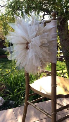 2016 2015 Big Flowers Crystal Beads Romantic Hand Made Tulle Ruffles Chair Sash Chair Covers Wedding Decorations Wedding Accessories From Irish_bridal, $2.82 | Dhgate.Com