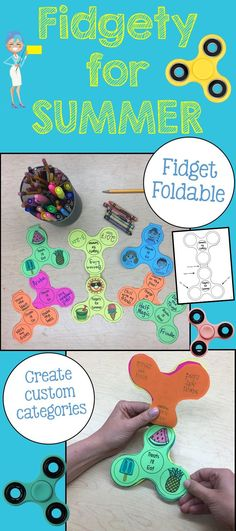 Your fidgety students will love this end of the year activity! This product is a foldable in the shape of a fidget spinner. Students will write or draw about: - People they'll see (this summer) - Treats they'll eat (this summer) - Chores they'll do (this summer) - Places they'll go (this summer) - Fun they'll have (this summer) ... and any other topic you would like them to explore. This product makes for a great end of year activity and will commemorate the year of the fidget spinner!