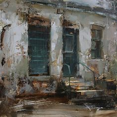 The Geen Door II, Oil on Wooden panel, 15,7 x 15,7. Tibor Nagy, from Slovakia paints plein air landscapes & townscapes with brusque, rough edged shards & chunks of color. Over a base of thinly applied darks he layers thick paint, sometimes with a loaded brush and sometimes apparently troweled on with a painting knife. These are mixed in with scumbled passages, painting knife scrapings and areas in which the underlying block-in is deliberately left unfinished. www.nagytibor.com