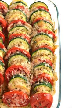 Parmesan Tomato Zucchini Bake is a simple recipe with layered fresh tomatoes, zu. Parmesan Tomato Zucchini Bake is a simple recipe with layered fresh tomatoes, zucchini and summer squash topped with garlic, onions and parmesan cheese! Tomato Zucchini Bake, Baked Parmesan Tomatoes, Zucchini Parmesan, Zucchini Tomato Casserole, Baked Squash And Zucchini Recipes, Healthy Zucchini Recipes, Veggie Bake, Recipes With Yellow Squash, Veggie Food