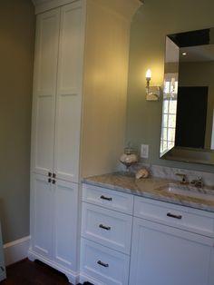 Bathroom Linen Cabinet With Double Panels On Upper Cabinet Doors To Breakup  The Height.