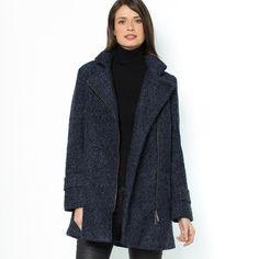 Mid-Length Straight Cut Zip-up Bouclé Coat, 50% Wool