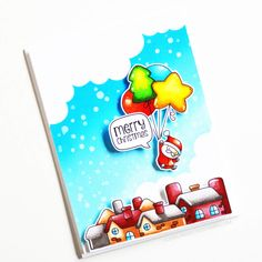 Stamps: Balloon Bunch Christmas, Speaking Out / Stencils: Cloudy Day, Snow Day Cloud Outline, Christmas Cards, Merry Christmas, Christmas Ideas, Christmas Balloons, Copic Sketch Markers, White Gel Pen, Cloudy Day, Ink Pads