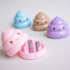 """You have seen our """"Lucky poop mechanical pencils"""", now meet their sharpeners counterpart. These four adorably innocent sharpeners are guaranteed to make your friends raise their eyebrows - from looking at the awesomeness of these stationery. Grab all four today, because believe us girls (and guys), they are going very fast. Once they are gone, they are gone!  Available in four pastel variations - Blue, Pink, Purple and Brown Good for those that want to embrace their bodily functions Two…"""