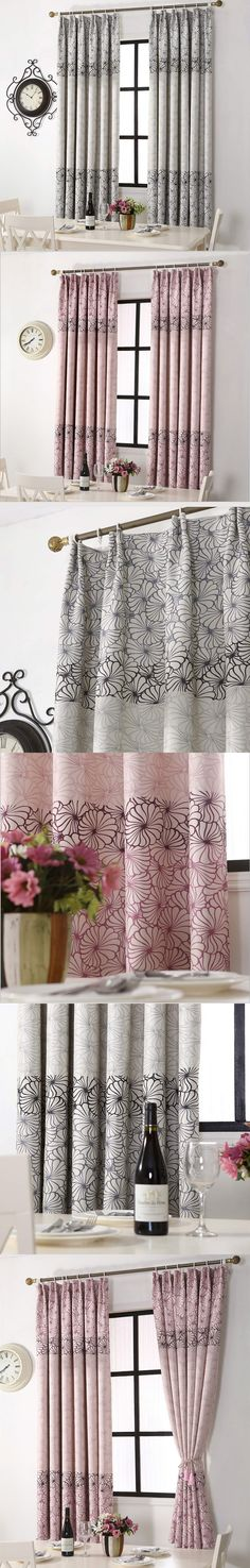 Short Bedroom Curtains Flower pattern Decorative Room Divider Rustic Style printed Window Curtain Single Panels (A313) $21.4