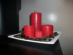 Black, White and Red home decor, candles and rocks