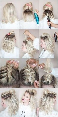half-up, half-down hairstyles for girls with short hair at prom #HairBraids #BraidsTutorials Click to See More...
