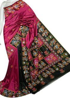 Rani Pink & Black Color Sonamukhi Pure Bangalore Silk Sarees