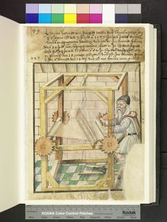Amb ° folio 43 recto 1585 The brother sitting at his loom kick and tampered with the rods for lowering and raising of the warp yarns. Medieval Life, Medieval Art, Medieval Crafts, Book Of Hours, Medieval Manuscript, Loom Weaving, Textiles, Blacksmithing, Middle Ages