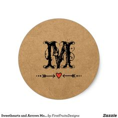 Sweethearts and Arrows Monogram Classic Round Sticker Sweethearts and an arrow - rustic, country style! Add your initial, and make it your own.