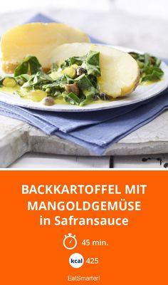 Backkartoffel mit Mangoldgemüse - in Safransauce - smarter - Kalorien: 425 kcal - Zeit: 45 Min. | eatsmarter.de