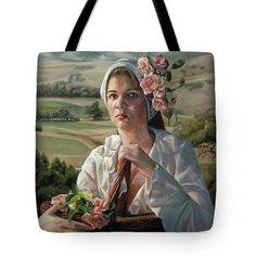 Tote Bag featuring the painting Harvest Rose by Avril Thomas Buy Gifts Online, National Portrait Gallery, Spring Collection, Accessories Shop, Painting & Drawing, Oil On Canvas, Harvest, Original Paintings, Reusable Tote Bags